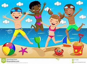 Happy Kids Kid Swimsuit Jumping Isolated Stock Vector ...