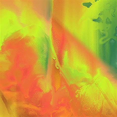 Orange Lime Green Abstract By Dee Flouton