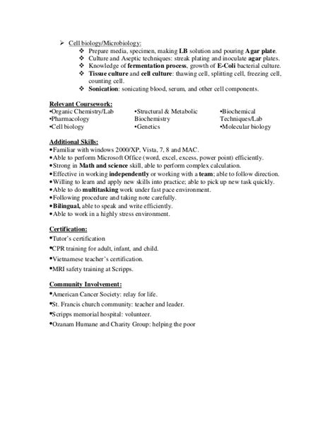 Biology Lab Skills List Resume by Biology Techniques Resume Persepolisthesis Web Fc2