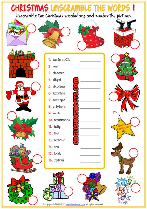 christmas esl unscramble  words worksheets  kids