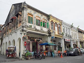 chinese shophouse row  george town penang malaysia