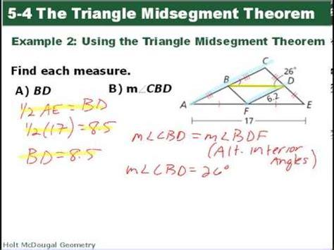 Geometry 54 Triangle Midsegment Theorem Youtube