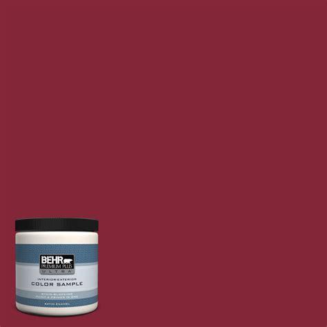 behr premium plus ultra 8 oz m140 7 crimson satin enamel interior exterior paint and