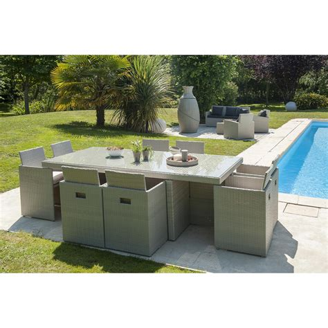 salon de jardin encastrable r 233 sine tress 233 e gris 1 table