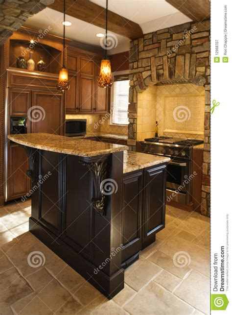 kitchen interior  stone accents  affluent ho stock