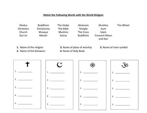 World Religions Worksheet