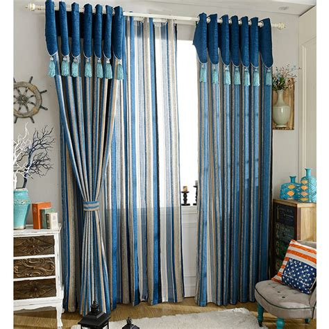 fashionable blue chenille striped curtains on sale