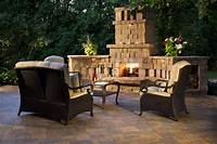 "outdoor fireplace designs A faux ""area rug"" of Mega-Arbel pavers break of the design of this Urbana patio to enhance the ..."