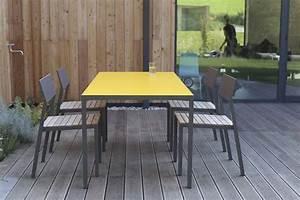 Table De Jardin Bois Et Metal : salon de jardin cora table rectangle 175 cm et 4 chaises m tal aluminium de couleur plateau ~ Teatrodelosmanantiales.com Idées de Décoration