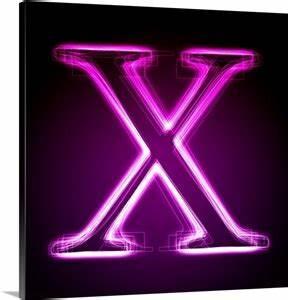X Purple Neon Shift Letter Art Wall Art Canvas Prints
