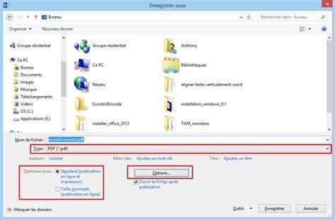 enregistrer bureau enregistrer un document pdf avec word