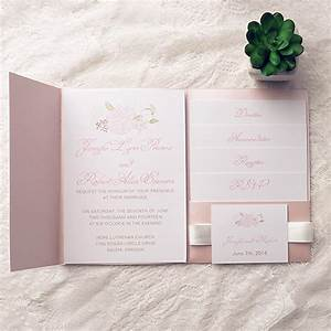 cheap spring pink flower pocket wedding invitation kits With wedding invitation kits sale