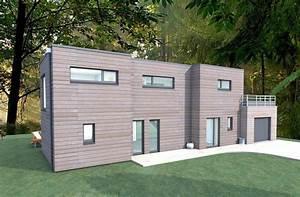 modele maison cubique maison cube moderne bois vue With exemple plan de maison 2 couleur maison construction etude maison cubique azur