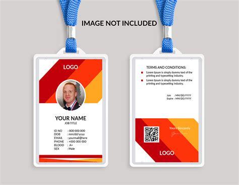 template id card gratis plantilla de tarjeta de identificaci 243 n impresionante rojo
