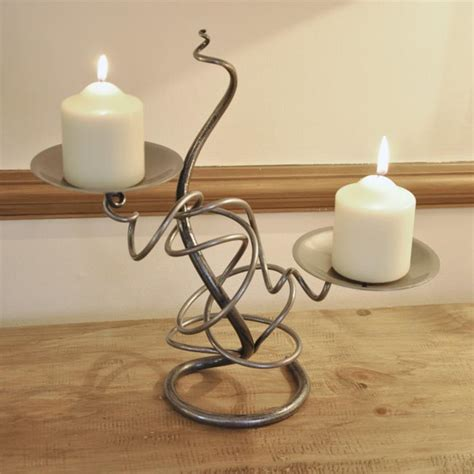 wrought iron candle holder hand  double candle