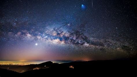 Milky Way Meteor And Ariane 5 Rocket Seen Over Doi