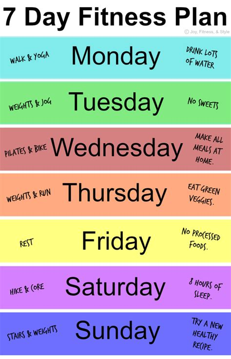 7 Day Fitness Plan  Joy, Fitness, & Style