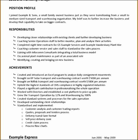 Duties Of A Truck Driver For Resume by 11 Description Statement Template Sletemplatess
