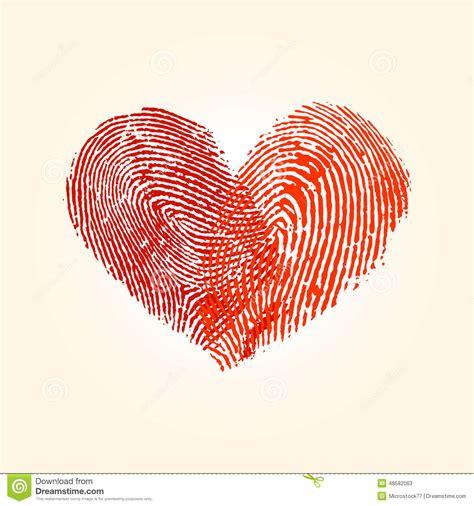 fingerprint love heart design stock vector illustration