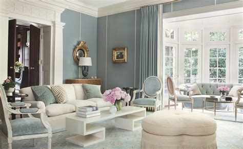 white and light blue classic living