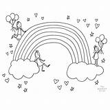 Coloring Rainbow Template Daughters sketch template