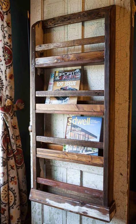 pallet wood wall hanging magazine rack  pallets