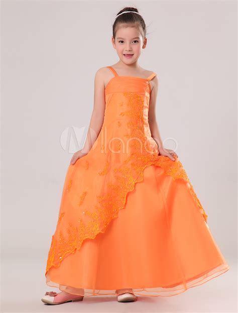 orange net junior bridesmaid dress  applique