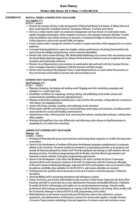 community manager resume sles velvet