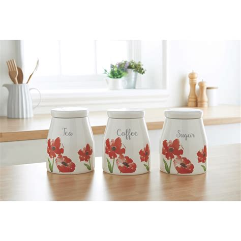 canisters for the kitchen poppy tea coffee sugar canisters food storage jars