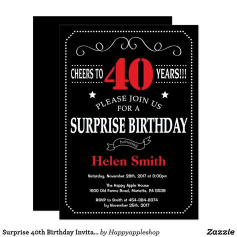 Surprise 40th Birthday Invitation Red and Black Zazzle