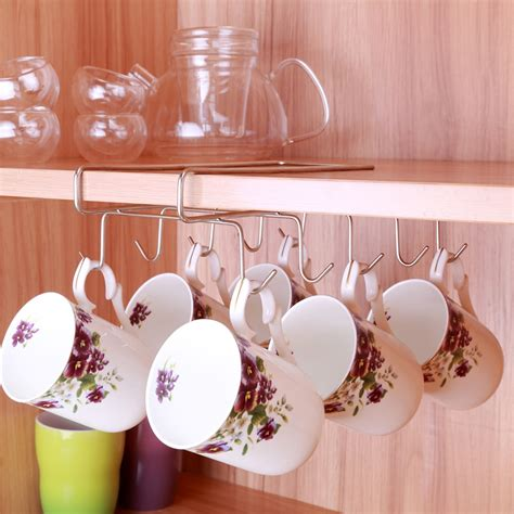 Sourcing guide for cup holder wall: 10 Hooks Stainless Steel Cup Hanging Bracket Holders ...