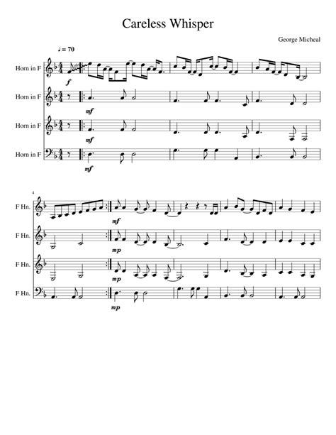 Piano sheet music is available for download in pdf format. Careless Whisper sheet music for French Horn download free ...