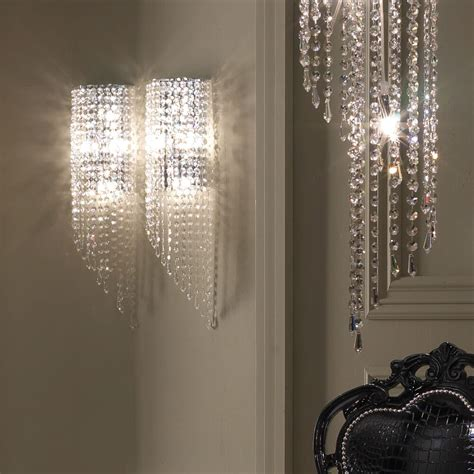 italian designer crystal drop wall light