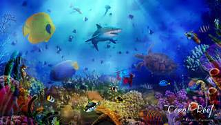 coral reef 1 ocean art nature sea fish  Coral Reef Wallpaper 1920x1080