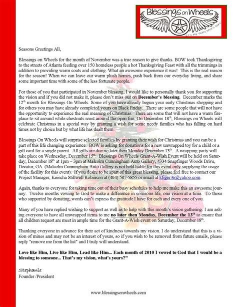 christmas donation request letter to request donations for just b cause