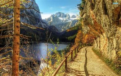 Mountain Mountains Fall Autumn Road Wallpapers Nature