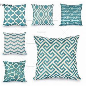 quatrefoil turquoise pillow case decorative pillows linen With cheap turquoise throw pillows