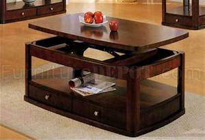 Distressed cherry finish contemporary coffee table with for Cherry wood lift top coffee table