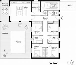 plan maison en l avec 4 chambres ooreka With plan maison avec patio 1 plan de maison traditionnelle estran