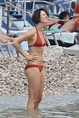 Rebecca Hall Wearing a Red Bikini at the Beach in Taormina ...