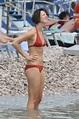 Rebecca Hall Wearing a Red Bikini at the Beach in Taormina ...
