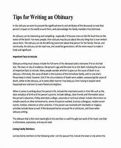 obituary examples tolgjcmanagementco With writing an obituary template