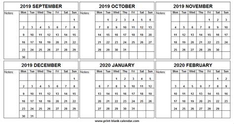 month september  february  calendar