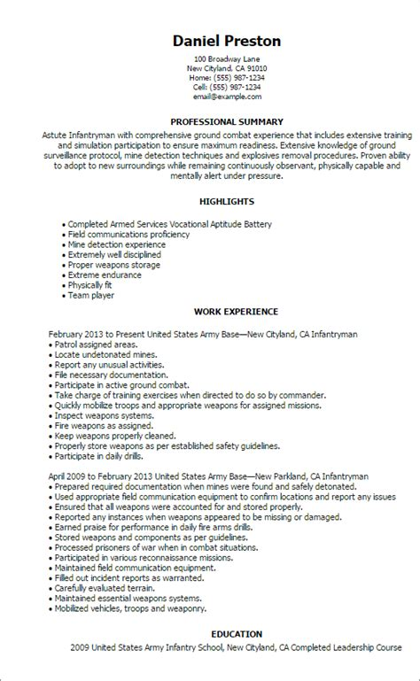 Professional Infantryman Templates To Showcase Your Talent. Experience Resume Example. It Resume Writing Services. Sample Resume Format For Teaching Profession. Resume Hard Working. Dba Administrator Resume. Resume Templates Word Download. How To Change Resume On Linkedin. Brightside Resumes