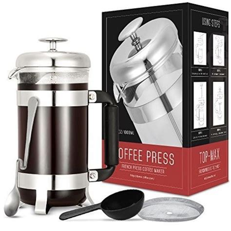 coffee leaf filter french press tea kettle maker carafe 34oz stainless steel a t lu