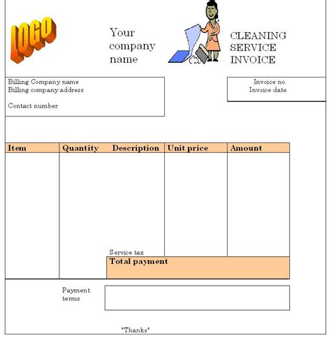 cleaning service invoice template invoice templates