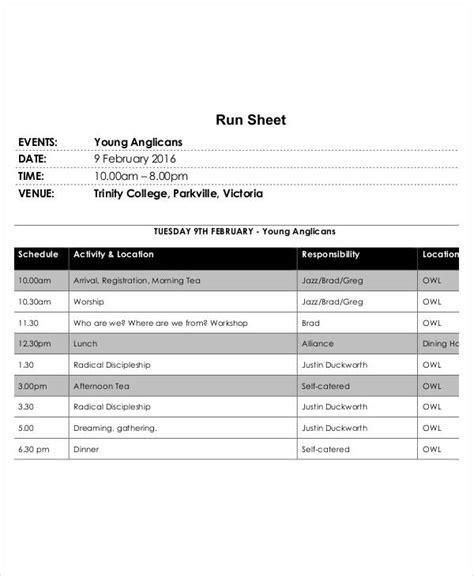 run sheet template   sample  format