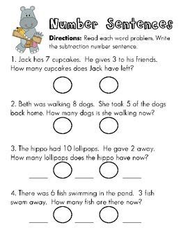 writing subtraction number sentences from word problems also pinned addition math word