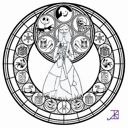 Coloring Pages Disney Glass Stained Christmas Mandala