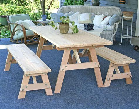 picnic table bench cedar picnic table w benches